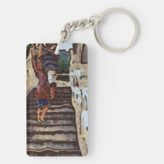 Waving from the steps Double-Sided rectangular acrylic keychain