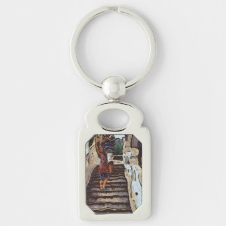 Waving from the steps Silver-Colored rectangle keychain