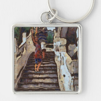Waving from the steps Silver-Colored square keychain