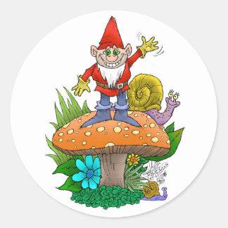 Waving Gnome.jpg Round Sticker