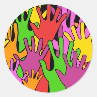 Waving Hands Classic Round Sticker