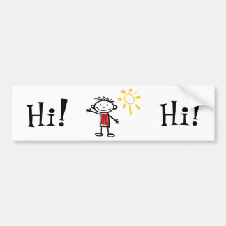 Waving Hi Car Bumper Sticker