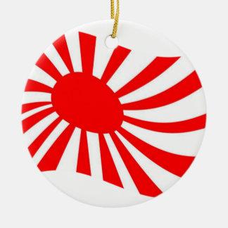 Waving Japanese Rising Sun Flag Ceramic Ornament