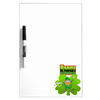 Waving Leprechaun on a clover, dry erase board. Dry Erase Whiteboards