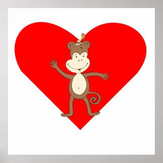 Waving Monkey Heart Posters