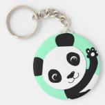 Waving Panda Basic Round Button Keychain