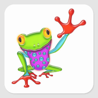 Waving Poison Dart Frog Square Sticker