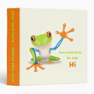 Waving red eyed tree frog illustration 3 ring binders