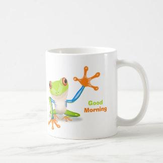 Waving red eyed tree frog illustration coffee mug