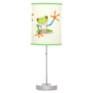 Waving red eyed tree frog illustration desk lamp
