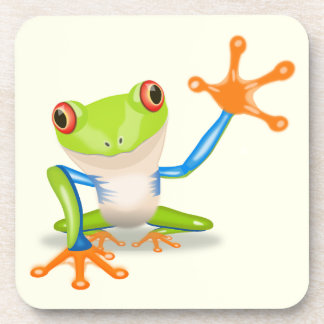 Waving red eyed tree frog illustration drink coaster