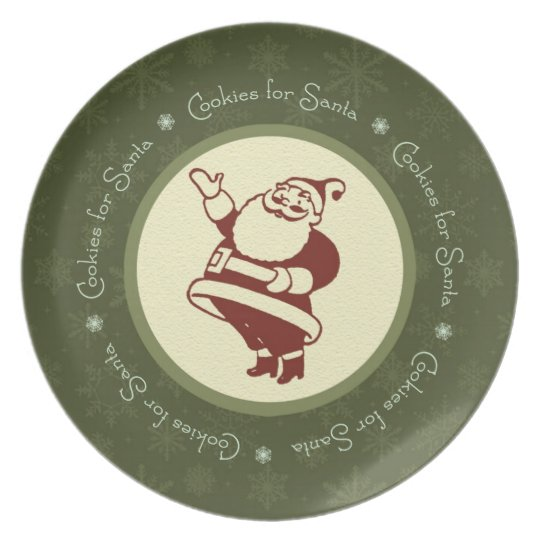Waving Retro Santa Cookie Plate