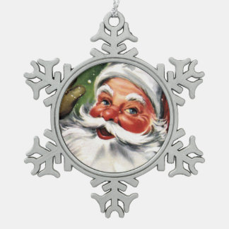 Waving Santa Claus Snowflake Pewter Christmas Ornament