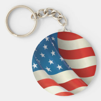 Waving U.S. Flag Basic Round Button Keychain