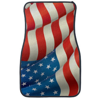 Waving U.S. Flag Car Floor Carpet