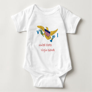 Waving United States Virgin Islands Flag And Name Baby Bodysuit