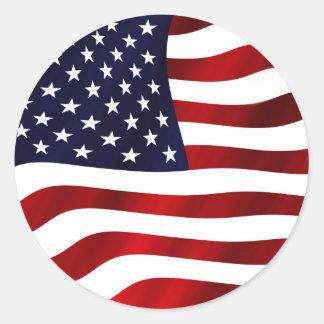 Waving US Flag Classic Round Sticker
