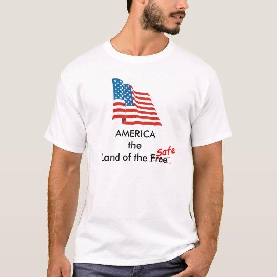 waving_us_flag_large, safe, x, AMERICALand of t... T-Shirt