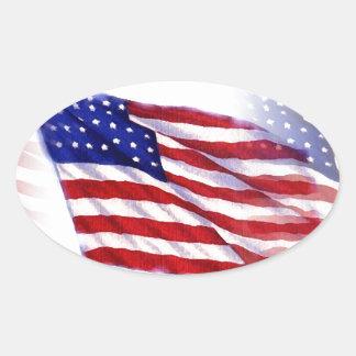 Waving US Flag Oval Sticker
