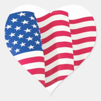 Waving USA Flag Red White Blue Stars Stripes Heart Sticker