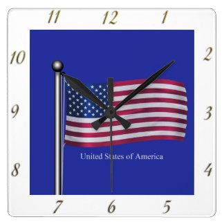 Waving USA Flag Square Wall Clock