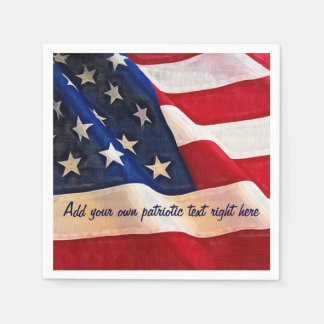 Waving USA flag with Custom Patriotic Saying Paper Napkin