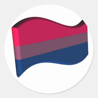 Wavy 3D Bisexual Pride Flag Round Sticker