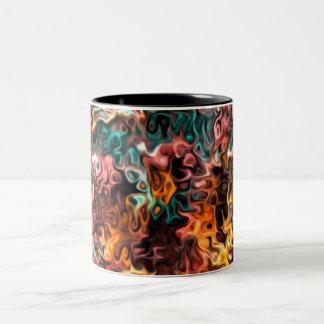 wavy abstract art: Glances Two-Tone Coffee Mug