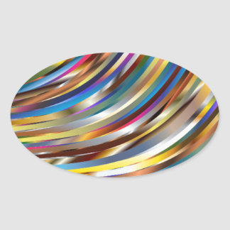 Wavy Abstract Oval Sticker