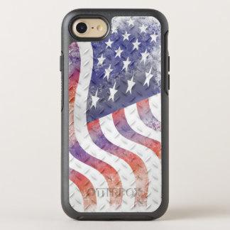 Wavy American Flag on Diamond Pattern Metal OtterBox Symmetry iPhone 7 Case