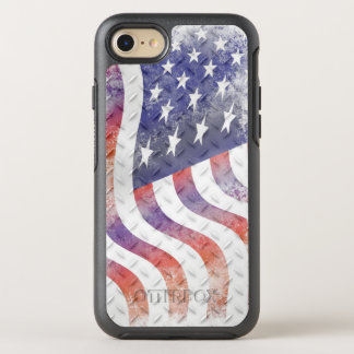 Wavy American Flag on Diamond Pattern Metal OtterBox Symmetry iPhone 8/7 Case