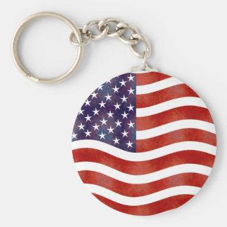 Wavy American Flag, USA Keychain