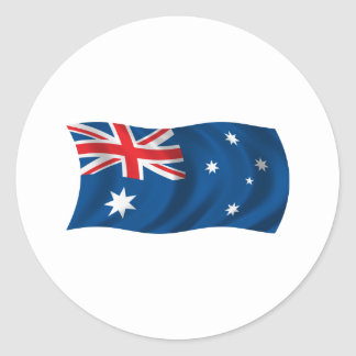 Wavy Australia Flag Classic Round Sticker