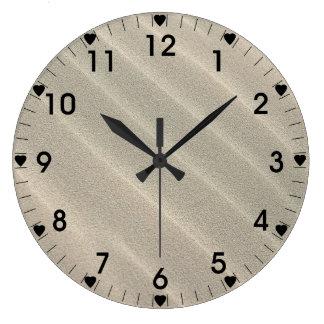 Wavy Beach Sand Black Number Large Clock