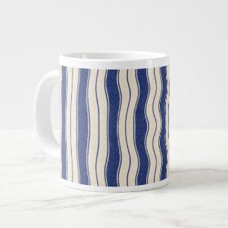 Wavy Blue and White Stripes Giant Coffee Mug