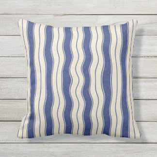 Wavy Blue and White Stripes Outdoor Pillow