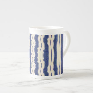 Wavy Blue and White Stripes Tea Cup