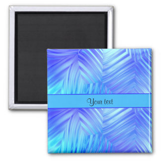 Wavy Blue Glass Square Magnet