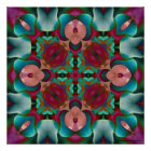 Wavy Blue Pink and Blue Green Kaleidoscope Poster