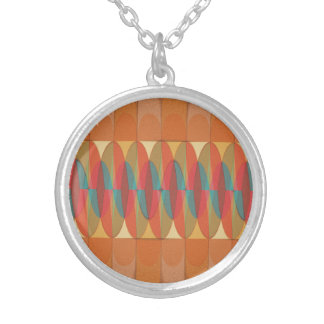 Wavy color stripe silver plated necklace