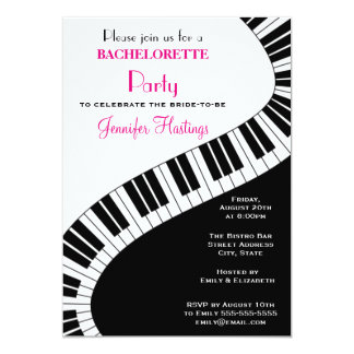"Wavy Curved Piano Keys Bachelorette Party 5"" X 7"" Invitation Card"