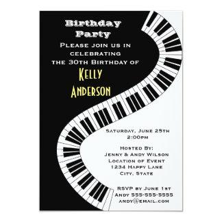 """Wavy Curved Piano Keys Birthday 5"""" X 7"""" Invitation Card"""