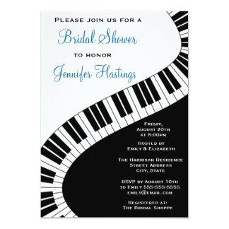 "Wavy Curved Piano Keys Bridal Shower 5"" X 7"" Invitation Card"