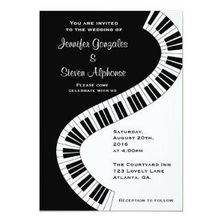 "Wavy Curved Piano Keys Wedding 5"" X 7"" Invitation Card"