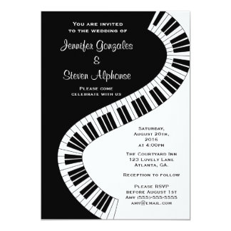 Wavy Curved Piano Keys Wedding Card