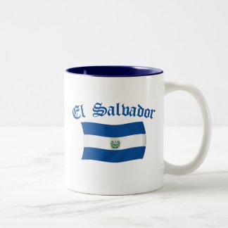 Wavy El Salvador National Flag Two-Tone Coffee Mug