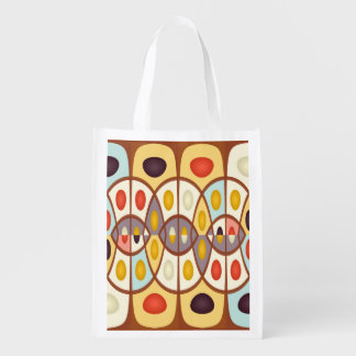 Wavy geometric abstract reusable grocery bag