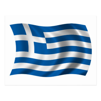 Wavy greece Flag Postcard