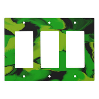 Wavy Green and Black Light Switch Cover
