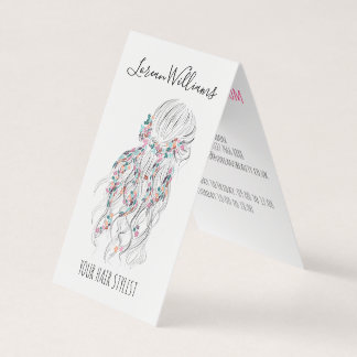 Wavy hair floral wreath Hairstyling appointment Business Card